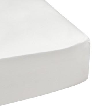 drap housse c130 blanc 100 coton longues fibres. Black Bedroom Furniture Sets. Home Design Ideas