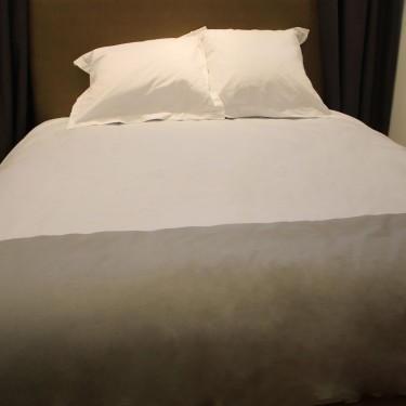 Braderie housse de couette bicolore standard textile for Housse de couette grise et blanche
